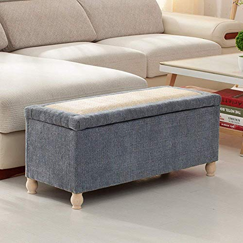 XBCDX Storage ottoman Bench,Linen Upholstered Footstool Sofa stool Storage box Rattan weaving lid Entrance shoe changing Bench-Light blue 31.5x16x17in