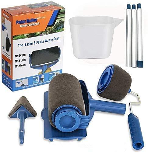 Kit de ceKit de pincel de rodillo de pintura de 8 piezas, kit de pincel de impresión de pared con pincel Paint Runner Pro, pincel de impresión de pared, 3 postes telescópicos, 1 barra de agitación