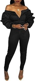 Women's Off Shoulder Ruffle Long Sleeve Front Zip up Bodysuit Jumpsuit Long Pants Rompers