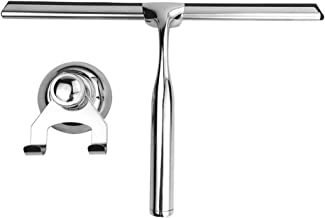 rijtus Stainless Steel Glass Window Wiper Shower Squeegee Mirror Cleaning with Sucker Hook Holder