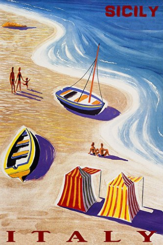 """Sicily Italy Summer Travel Beach Family Fun Sailboat Romance SEA Waves 20"""" X 30"""" Image Size Vintage Poster REPRO Matte Paper WE Have Other Sizes"""