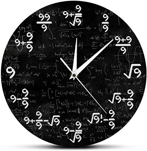 Reloj de pared grande Cocina Oficina Dormitorio Relojes de pared The Nines Reloj de pared de matemáticas Número 9 Reloj de pared moderno de matemáticas Reloj de pared Ecuación de matemáticas El reloj