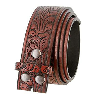 """Western Floral Embossed Vegan Leather Replacement Belt Strap w/Snaps 1-1/2"""" (38mm) wide (Brown, 36)"""