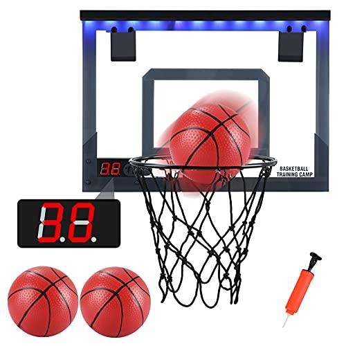 PELLOR Canasta de Baloncesto, Mini LED Aro de Baloncesto Tablero Baloncesto Juego Al Aire Libre y Interior Oficina con Función de Puntuación y Balón para Niños Infantils