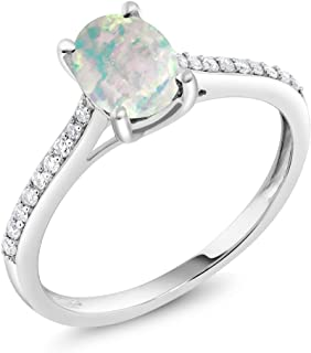 10K White Gold Oval Cabochon White Simulated Opal and Pave Diamond Women Engagement Solitaire Ring 1.05 Ctw (Available 5,6,7,8,9)
