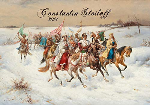 Calendario de pared 2020 [12 páginas 8 x 11 pulgadas] invierno Rusia Troika Adolf Baumgartner Constantin Stoiloff Vintage Arte Antiguo Museo Pintura