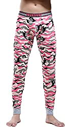 mens cotton camouflage thermal pants pink