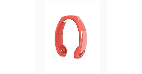 YIWU Neck Cooler Fan Hands Free Fan Adjustable Sport Neck Band Dual Cooler Fan Color : Red