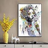 Colorida flor de belleza moderna acuarela chica lienzo pintura carteles escandinavos e impresiones cuadro de arte de pared para decoración del hogar 30x45 CM (sin marco)
