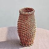 maceteros de mimbre grandes ,Jarrón con forma de botella de tesoro tejido de mimbre natural,retro y elegante,utilizado para jarrones de flores reales,flores secas,decoraciones de interior y exterior