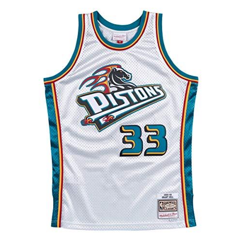 Mitchell & Ness - Maglietta Grant Hill #33 Detroit Pistons 1998-99 Swingman NBA, Colore: Argento, Argento, L