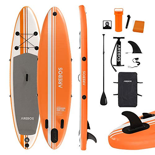 Arebos SUP Board | Stand up Paddling | Surfboard | 300 cm | aufblasbar | Single-Layer | Alu-Paddel | Hochdruck-Pumpe | Transportrucksack | 115kgTragkraft | Orange
