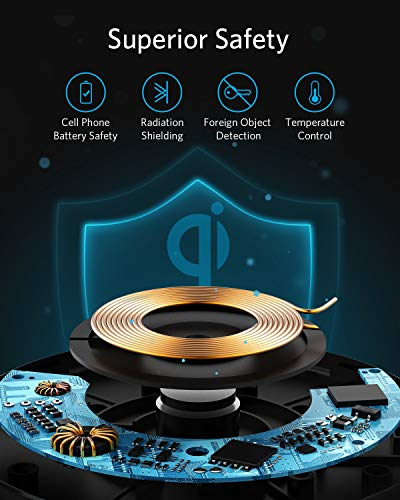 Anker Wireless Charger, PowerWave Pad Qi-Certified 10W Max for iPhone SE (2020), 11, 11 Pro, 11 Pro Max, Xs Max, XR, XS, X, 8, 8 Plus, AirPods, Galaxy S20 S10 S9 S8, Note 10 9 8 (No AC Adapter) 6 The Anker Advantage: Enjoyed by over 50 million users worldwide, our leading technology will change the way you charge. Complete Charging Convenience: Instantly charge your phone or earbuds simply by placing them in the center of PowerWave Pad. Never fuss around with plugging and unplugging cables again, just set down and power up. Universal Compatibility: PowerWave Pad provides 10W output for Samsung Galaxy, 7.5W for iPhone, and 5W for other phones or wireless earbuds (including AirPods).