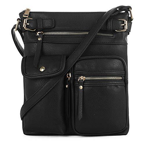 SG SUGU Katie Lightweight Medium Crossbody Bag Shoulder Bag with Multi Pocket for Women   BLACK