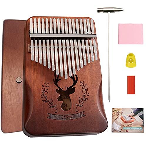 BelonLink Kalimba 17 tasti - Thumb Piano, Mogano di alta qualità, Mbira con martello accordatore, borsa per pianoforte, istruzione di studio, Regalo di Natale per principianti bambini Marrone