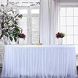 circulor Jupe De Table en Tulle, 275 X 76 CM Jupe De Table Blanche Jupes De Table Décoration De Table Tutu Convient pour La Décoration De Fête De Mariage Anniversaire