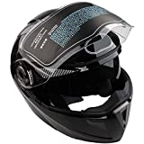 Casco con doble lente para motocicleta, visera integral, color negro (XXL/XL/L)