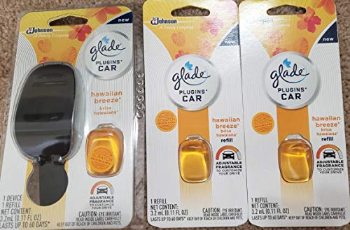 4 UNITS Glade plugins CAR air freshener Starter device + 3 Refills HAWAIIAN BREEZE -  77467