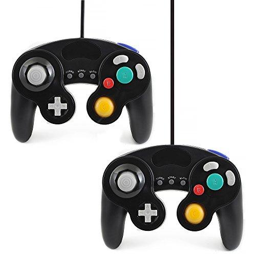 QUMOX 2 x Controlador Mando de Juego con Cable clásico Joypad Gamepad para Nintendo Gamecube gc y Wii, Negro (función Turbo Lenta)