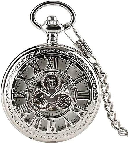 Reloj de bolsillo, cubierta de rueda dentada hueca plateada, cuerda manual mecánica con cadena de 30 cm, números romanos, esfera esquelética, reloj para hombre, regalos, relojes...