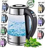 Glas Wasserkocher 1,7 Liter | 2200 Watt | Edelstahl mit Temperaturwahl | Teekocher | 100% BPA FREI | Warmhaltefunktion | LED Beleuchtung im Farbwechsel | Temperatureinstellung (40C-100C)