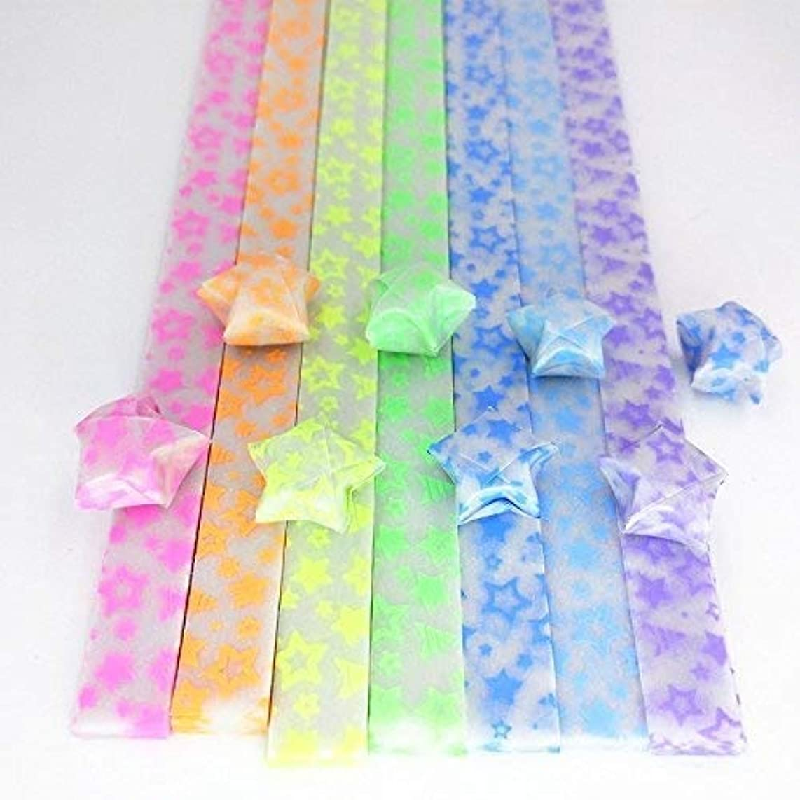 DadaCrafts(TM) 7 Colors Glow in the dark Origami Star Paper 210 Sheets, Stars style