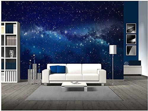 YIERLIFE 3D Fototapeten Vlies Wandbild - Landschaft schöner blauer Sternenhimmel - 3D wallpaper mural Wandbild Tapeten Wandgemälde Wohnzimmer Schlafzimmer Büro Flur Dekoration Wanddeko