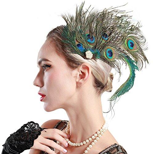 ArtiDeco Horquillas para el pelo de los años 20 con plumas de pavo real y plumas de pavo real para mujer, accesorios para disfraz de Gatsby Diseño 3 Talla única