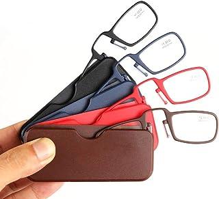 ed99f258f2 HHCC 4 PCS Gafas de Lectura con Caja Gafas Plegables portátiles Clips para  la Nariz Gafas