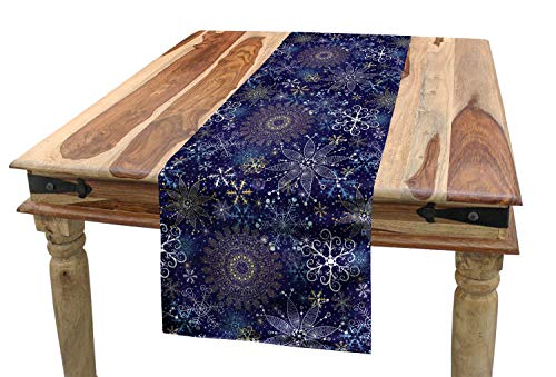 ABAKUHAUS Donkerblauw Tafelloper, Sneeuwvlokken Kerstmis Art, Eetkamer Keuken Rechthoekige Loper, 40 x 180 cm, Veelkleurig