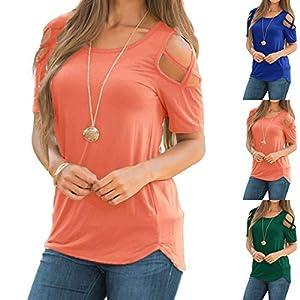 Damen Kurzarm Sommer Rundhals Oberteil Einfarbig Atmungsaktive Trägerlos Loose Tops Große Größe Bluse Weiche Basic T-Shirt für Frauen Freizeit Leicht