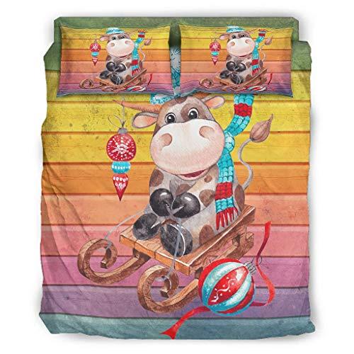 Qunrontan Navidad ganado transpirable 4 piezas juego de cama ropa de cama ultra suave microfibra adolescente ropa de cama para niños y adultos blanco 228x264cm