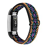 YONWORTH Adjustable Elastic Watch Band Compatible with Fitbit Charge 2 Bands, Stretchy Nylon Loop Strap Soft Wrist Bands Bracelet Sport Replacement for Women Men (Aztec Purple Blue)