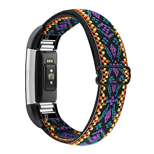 how to get started and stick with a fitbit 2021 YONWORTH Adjustable Elastic Watch Band Compatible with Fitbit Charge 2 Bands, Stretchy Nylon Loop Strap Soft Wrist Bands Bracelet Sport Replacement for Women Men (Aztec Purple Blue)