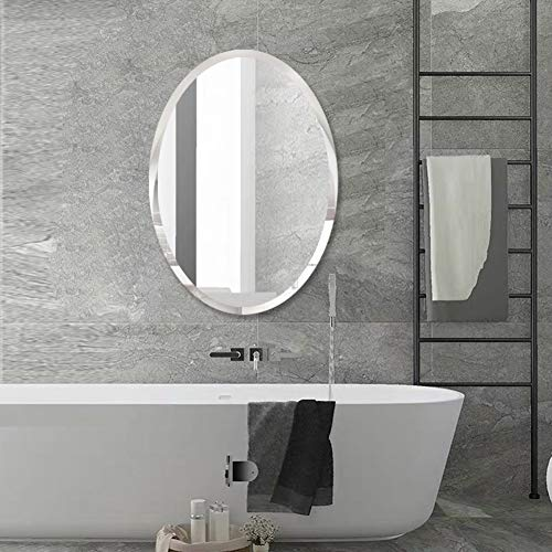 FANYUSHOW 23.6 x 31.5 Bathroom Mirror Free Punched Oval Mirror for Vanity, -