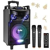 """Enceinte Sono Portable Haut-parleur Moukey Bluetooth Sonorisation 650 Watt Karaoké Système Enceinte sonorisation PA système avec DJ Eclairage 2 Micros VHF Radio MP3/USB/SD/FM pour la fête de Noël 12"""""""
