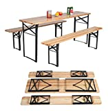 HAPPYGRILL 3PCS Outdoor Folding Picnic Table Bench Set, Portable Patio Dining Table Set with Wooden Top & Steel Frame