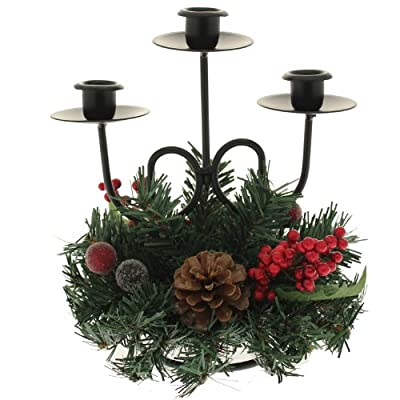 Christmas Table Candle Holder Decoration, 22 cm - Red With Natural Pine cones and Berries WeRChristmas