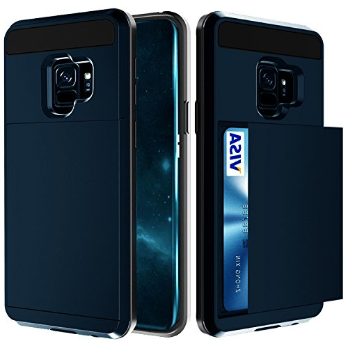 Samsung Galaxy S9 Case, Crosspace Galaxy S9 Wallet Case Card Holder Defender Bumper Soft Rubber Hard PC Back Hybrid Shockproof Slide Cover Flexible Protective with Card Slots for Galaxy S9-Navy Blue
