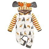 GRNSHTS Newborn Infant Baby Girls Boys Christmas Antlers Romper Toddler Cartoon Print Long Sleeve Deer Hoodie Striped Jumpsuit Outfit (Orange, 3-6 Months