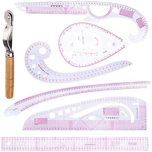 Namvo Regla de moda para ropa, 7 unidades de regla métrica francesa, reglas de plástico en forma de curva para coser y medir, suministros