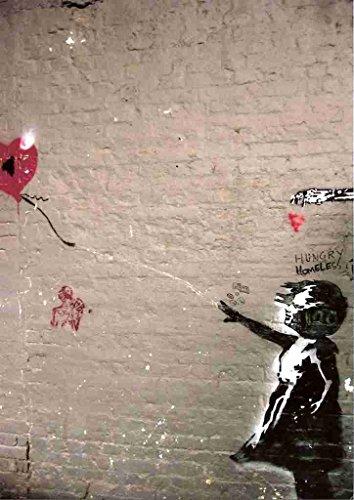 Banksy meisje met ballon baksteen muur A3 doos canvas print