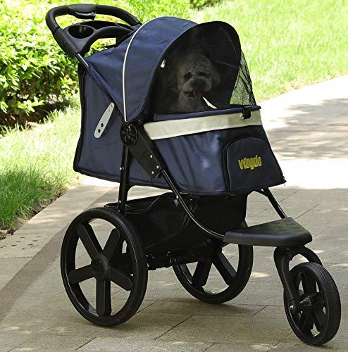 VIAGDO Luxus Hundewagen Hundebuggy Hunde Jogger Buggy Katzen Wagen, All Terrain für den klassischen Einsatz Buggy für Hunde - mit Einer Hand Klappbar(40CM Große Räder)