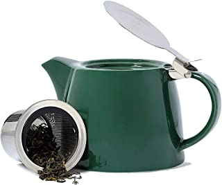 VAHDAM Porcelain Teapot - Dark Green (500 ml/ 16.9 oz) - Handcrafted Teapot with 18/8 Stainless Steel Lid and Extra-Fine I...