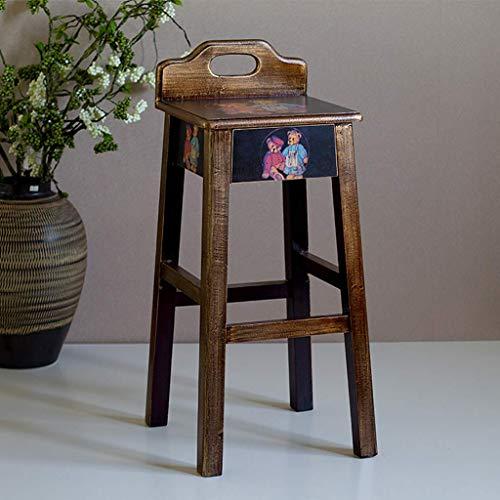 YLongFEI Barstuhl Stoolstainless Stahl Kreative Stuhl Coffee House Sitzfläche Große Hocker Holz High Solid Massivholz/Kompressions Vorstand (Color : A2)