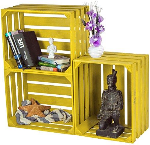 LAUBLUST 3er Set Sehr Große Vintage Holzkisten - 50x40x30cm, Gelb Lackiert, Neu, Unbenutzt   Möbel-Kiste   Wein-Kiste   Obst-Kiste   Apfel-Kiste   Deko-Kiste aus Holz