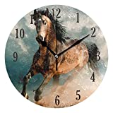 senya Horse Wall Clock, Battery Operated Silent Round Clock, Home Decor Wall Clock for Living Room, Kitchen, Bedroom