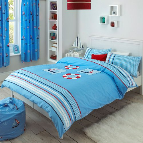 Creative Living Nautical Blue Sail Boat Stripe Check Double Duvet Quilt Cover Bedding EXCLUSIVE