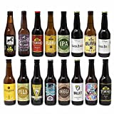 Cervezas artesanas nacionales. 16 botellas x 330ml - 5,28litros. Las mejores marcas. Incluye Río Azul Flora, medalla de Bronce en Barcelona Beer Challenge 2020 categoríaSPECIALTY IPA BELGIAN IPA