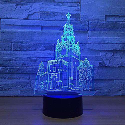 3D LED Clock Tower Folie 7 kleuren nachtlampje kind Touch USB-tafel kind kerstcadeau